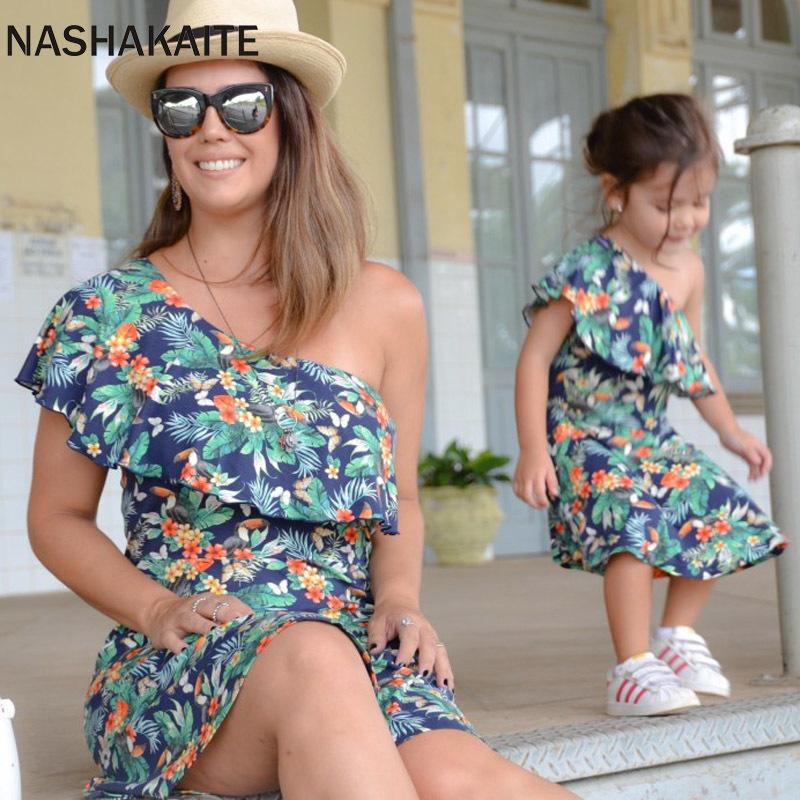 NASHAKAITE Mother daughter dresses Leaf Print One Shoulder Mini Dress For mom and daughter Mommy and me clothes Family Look LY191220