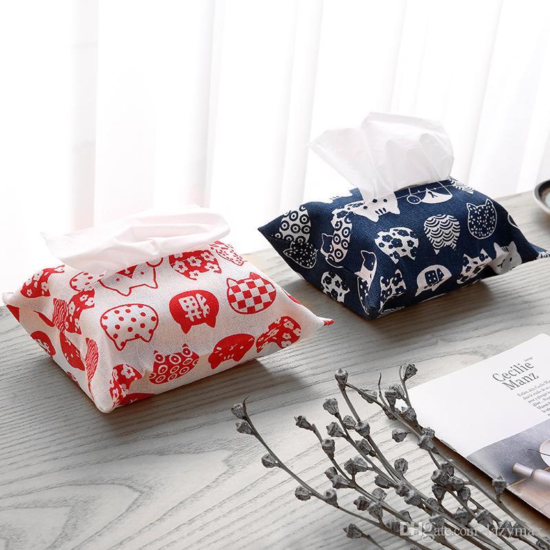 Cotton Linen Tissue Holder 2 Designs Simple Napkin Box Paper Case Room Car Sofa Decorative Paper Container Case 3 Pieces ePacket