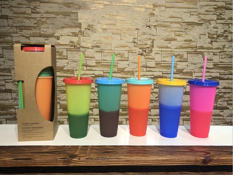 Am billigsten! 5 stücke Lot 24 Unzen Farbwechselbecher 510 ml Kunststoff Magie Tassen PP Thermochrome Kaffeetasse mit Deckel Stroh Temperatur Kaltes Wasser B ohcw