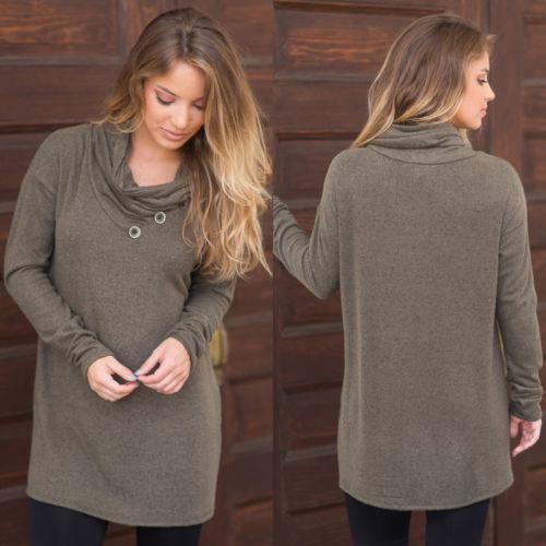 Herbst Brand New Art und Weise T-Shirt Frauen-Winter-lose lange Hülsen-weicher Baumwollbeiläufiges T-Shirt Tops
