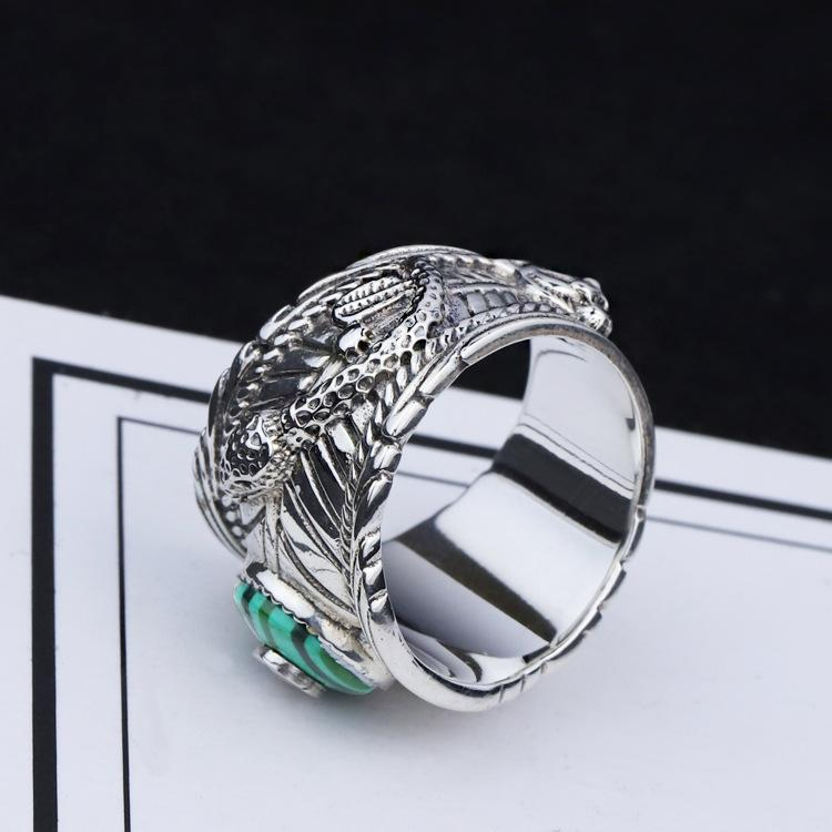 S925 Silver Double Snake Turquoise Ring Vintage Sterling Silver Malachite Snake Ring Men and Women Thai Silver Malachite Tiger Head Ring