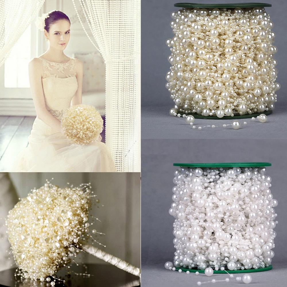 5 Meters Fishing Line Artificial Pearls Beads Chain Garland Flowers Wedding Party Decoration Products Supply White D19011101