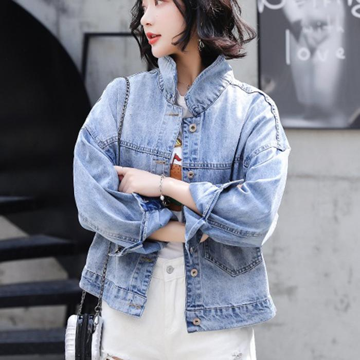 Spring Autumn New Denim Jacket Fashion Loose Thin Section Wild Shirt Casual Section BF Wind Short Paragraph Female Collar