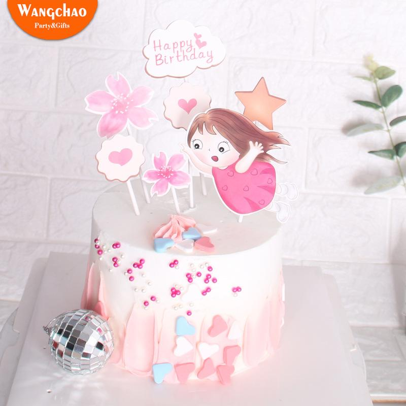 Peachy 2020 Sweet Little Girl Flower Heart Theme Cake Topper Happy Funny Birthday Cards Online Inifodamsfinfo