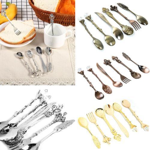 6pcs / set de lujo de oro real de la vendimia Cubiertos Vajilla Juegos de mesa de cocina Vajilla Cubiertos Cuchillo Tenedor de cucharas Vajillas