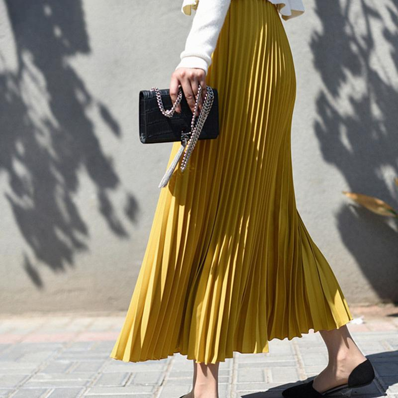 das mulheres Autumn Chiffon plissadas saia longa de cintura alta Sólidos Maxi saias Feminino 2019 Inverno Moda Casual saias longas para mulheres LY191202