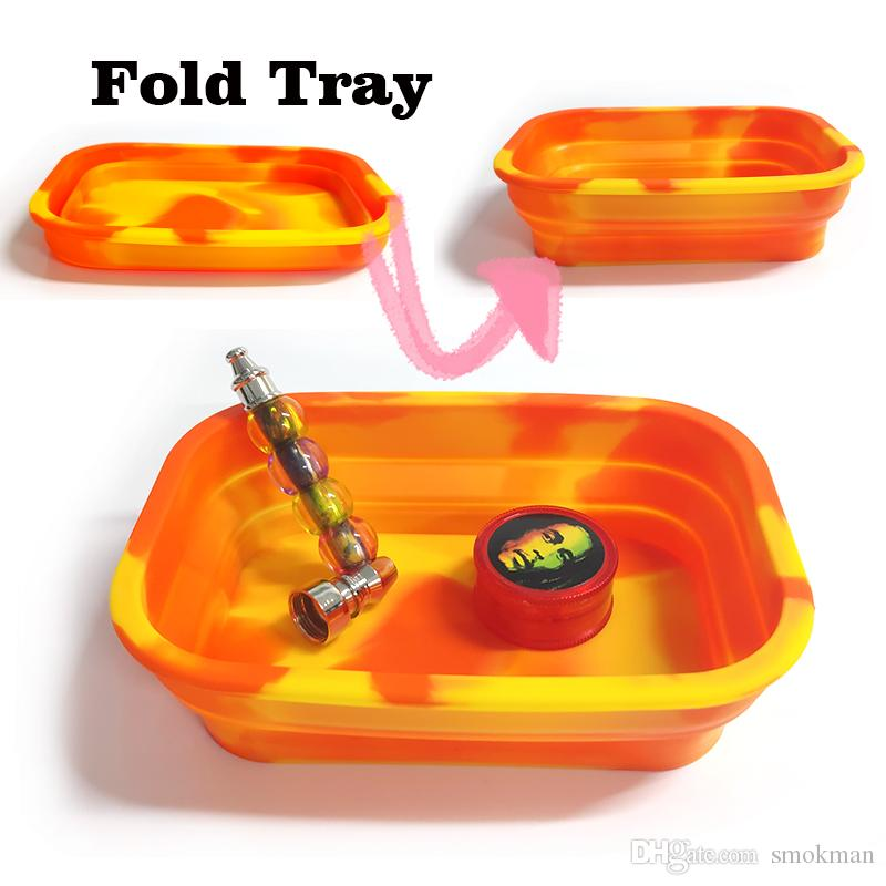 Wholesale Silicone Tobacco Rolling Silicone Fold Rolling Deep Tray Handroller Rolling Trays Case Machine Tools Tobacco Storage