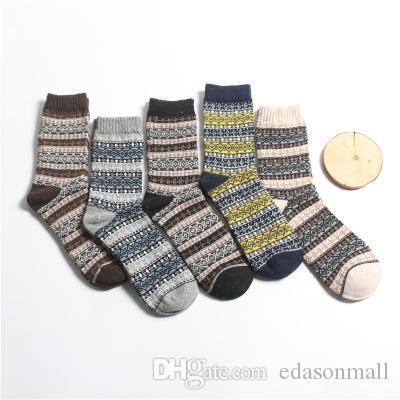 New Arrival Men Socks Vintage étnico lã quente meias longas verificado Listrado Geométrico Imprimir Ribbed malha Socks Tripulação Vestido Meias M361Y