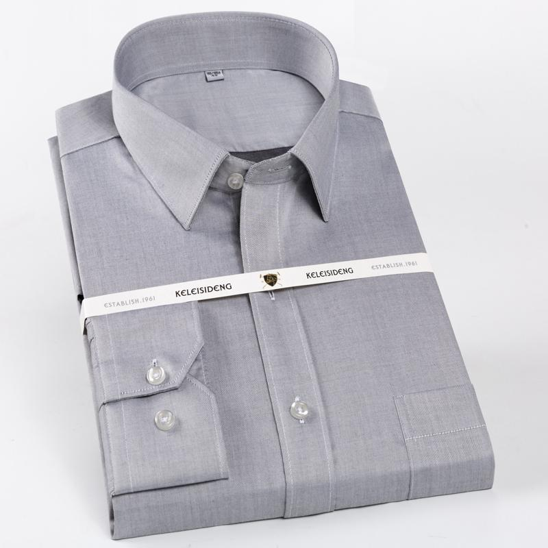 Men's Regular-Fit Wrinkle-Resistant Long-Sleeve Dress Shirts Single Patch Pocket Cotton Formal Non Iron Business Classic Tops Shirt YQ07