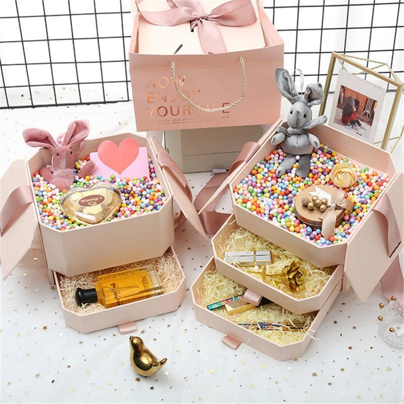 Восьмиугольная помада духи подарок на День Рождения бумажная коробка свадебный цветок коробка конфеты подарочные коробки для хранения Живая ВАЗа Dec 21*21*15.5 см