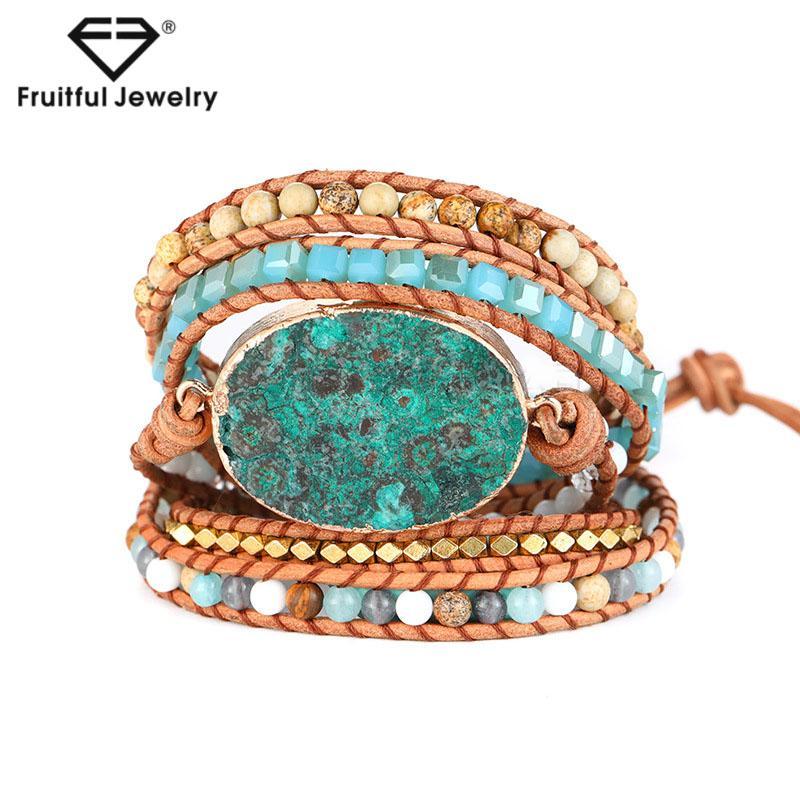 Pelle fruttuosa Bohemian perline pietra naturale Bracciale Ovale Cuboid Power Stone tessuto mano Fibbia Bracciale per il regalo Estate Donna