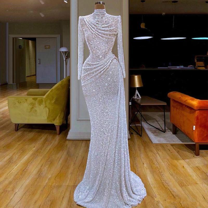 2020 새로운 반짝이 공주 이브닝 드레스 높은 칼라 장식 조각 파란색 긴 소매 스윕 기차 공식 파티 드레스 맞춤 제작 긴 댄스 파티 드레스