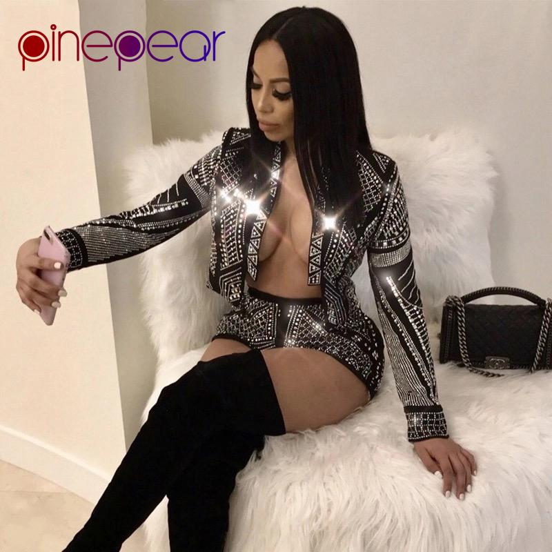 Crop PinePear diamante di scintillio manica lunga top e shorts 2 piece set 2019 partito d'avanguardia sexy delle donne di lusso Outfits Drop Shipping