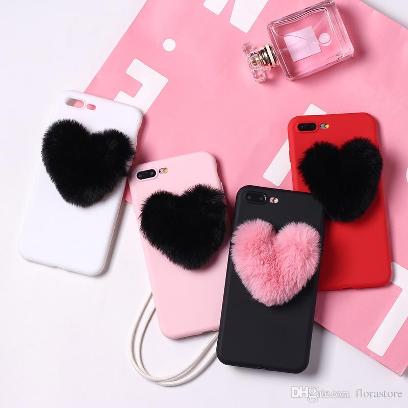 Plush 3D Heart Phone Case Cute Soft Fur Back TPU Covers for iPhone Apple 7 8PLUS XR X MAX 11 PRO