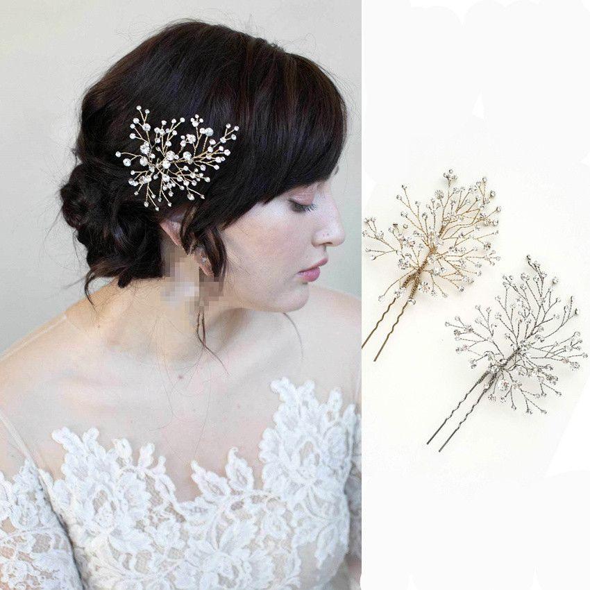 1 Pair Brand New 2019 Wedding Bride Bridal Rhinestones Hairpins Hair Accessories Headpiece Tiaras Silver Gold Fashion Handmade Jewelry Clip