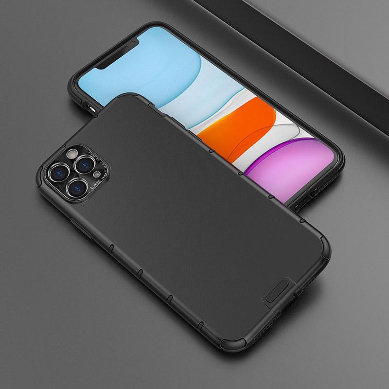 Novo Design PC caso Soft Phone TPU à prova de choque Bumper sensação de couro caso tampa traseira com câmera proteger Para iPhone 11 Pro Max