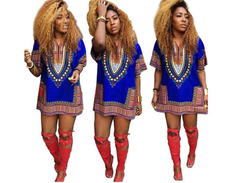 Moda de verano vestidos impresos Dashiki africana Kaftan con cuello en v Boho Hippie Gypsy Festival Top mujer ropa 7 color S-XL