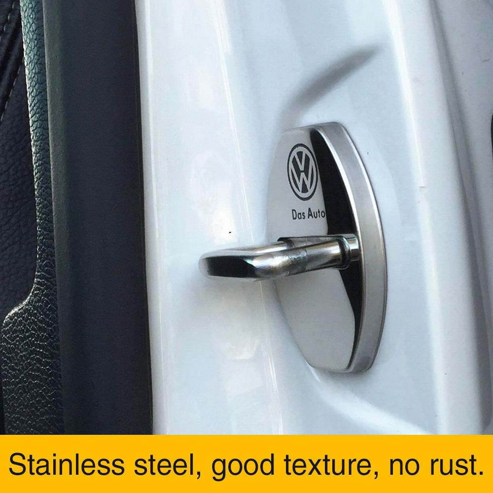 Jetta Stainless Steel Car Door Lock Latches Cover Protector Replacement for VW Passat Tiguan Atlas Beetle Golf Blue CC Car 3M Adhesive Backing 4PCS Alltrack GTI R SportWagen GLI