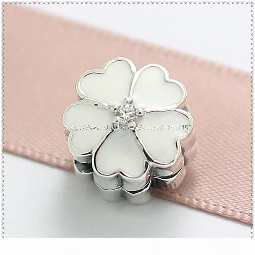 New 2016 Spring 925 Sterling Silver Primrose Clip Charm Bead with White Enamel and Clear Cz Fits European Jewelry Bracelets & Necklace