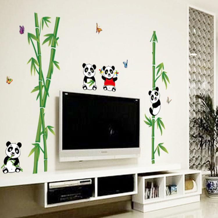 Diy Wall Stickers Panda Eat Bamboo Creative Bedroom Living Room Tv Wall Background Decoration Can Be Moved Ay9215
