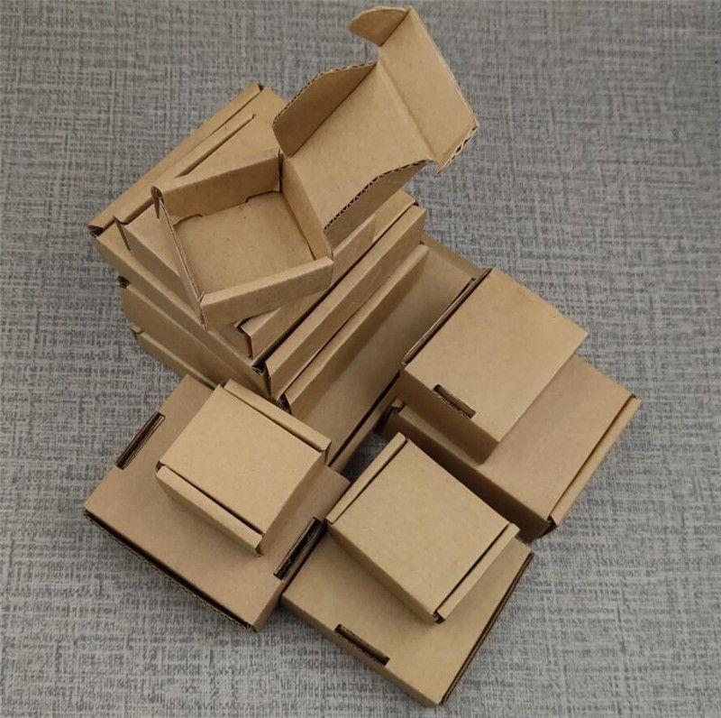 20pcs Mehrgrößen Kraft Paper Riffel Box Geschenk-Box Kleiner Schmuck / Süßigkeiten Verpackung Boxen verdicken Courier Boxes