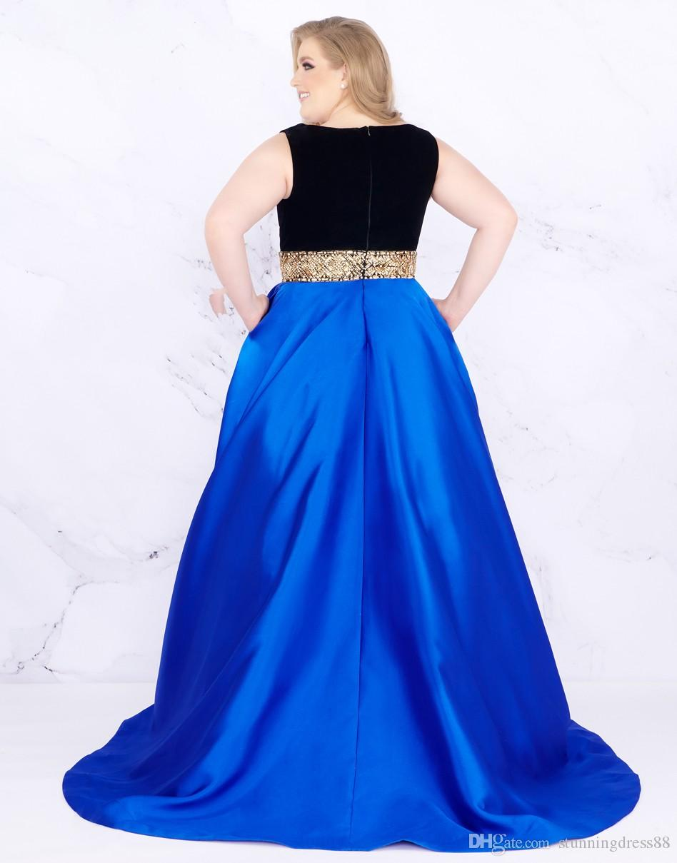 2019 Gold Sequins Beads Plus Size Evening Prom Dresses With Pockets Deep V  Neck Cheap Black Royal Blue Plus Size Special Occasion Dresses Formal Dress  ...