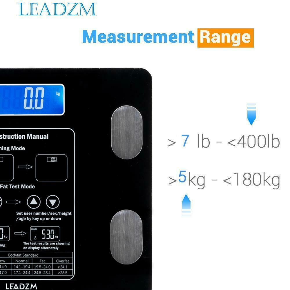 العضلات Leadzm الجسم الرقمية الدهون مقياس BMI المياه السعرات الحرارية العظام الوزن 400lb 12 العضو