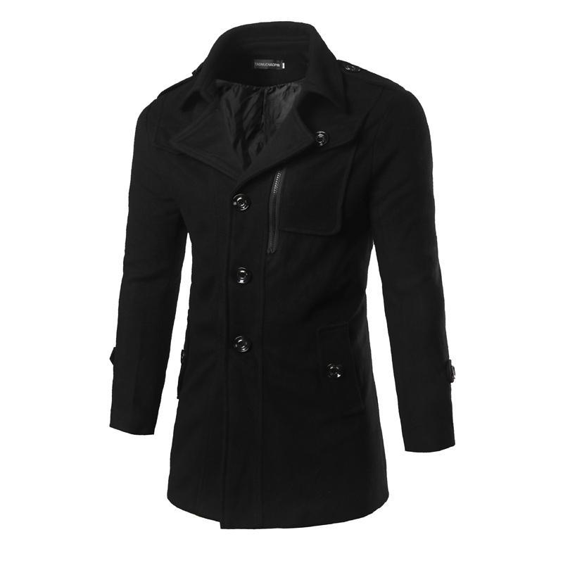 Mens Woolen Pea Coats 2016 Fashion Winter Brand Trench Men Jacket Black Male Long Overcoat Business Warm Trench Outwear F07