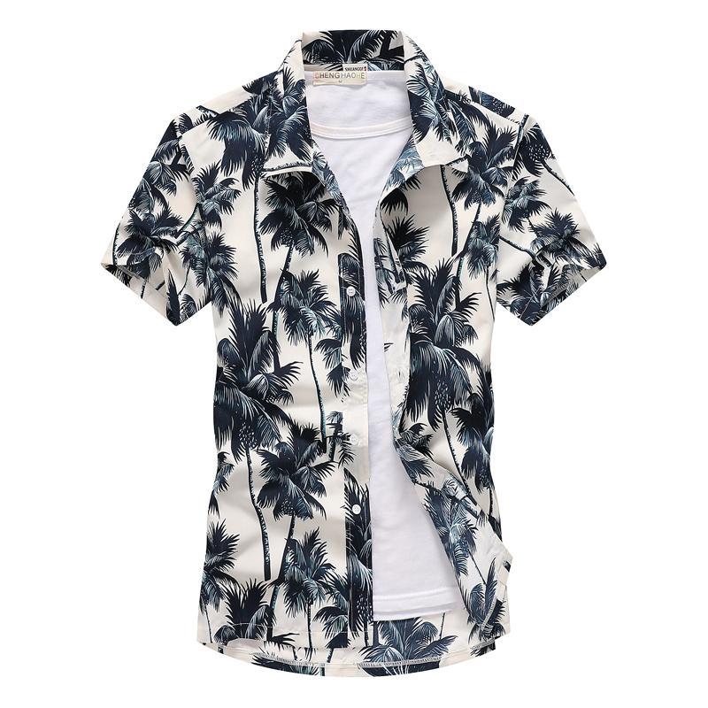 2019 Moda Mens Manga Curta Camisa Havaiana Secagem rápida Plus Size Tamanho Asiático S-5XL Verão Casual Floral Praia Camisas Para Homens T190830