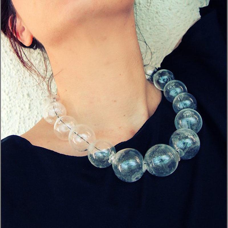 Original Unique Design 19 Beads Glass Ball Bubbles Clear Choker Necklace Women Big Transparent Handmade Minimal Necklace 2018 Y19050901