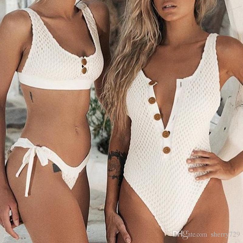 Sexy Botões bodysuits one-piece V Profundo Swimsuit 2019 Mulheres Grid Botões Swimwear Backless Maiô Monokini Beachwear Push Up Acolchoado