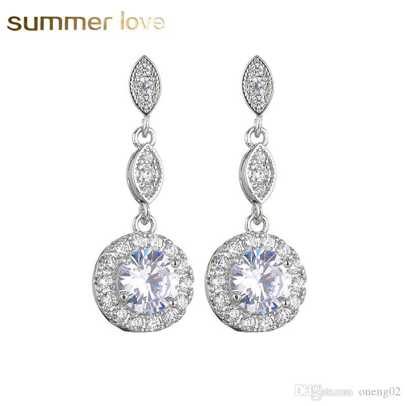 925 Sterling Silver Crystal Round Shape Dangle Drop Earrings Women Jewellery