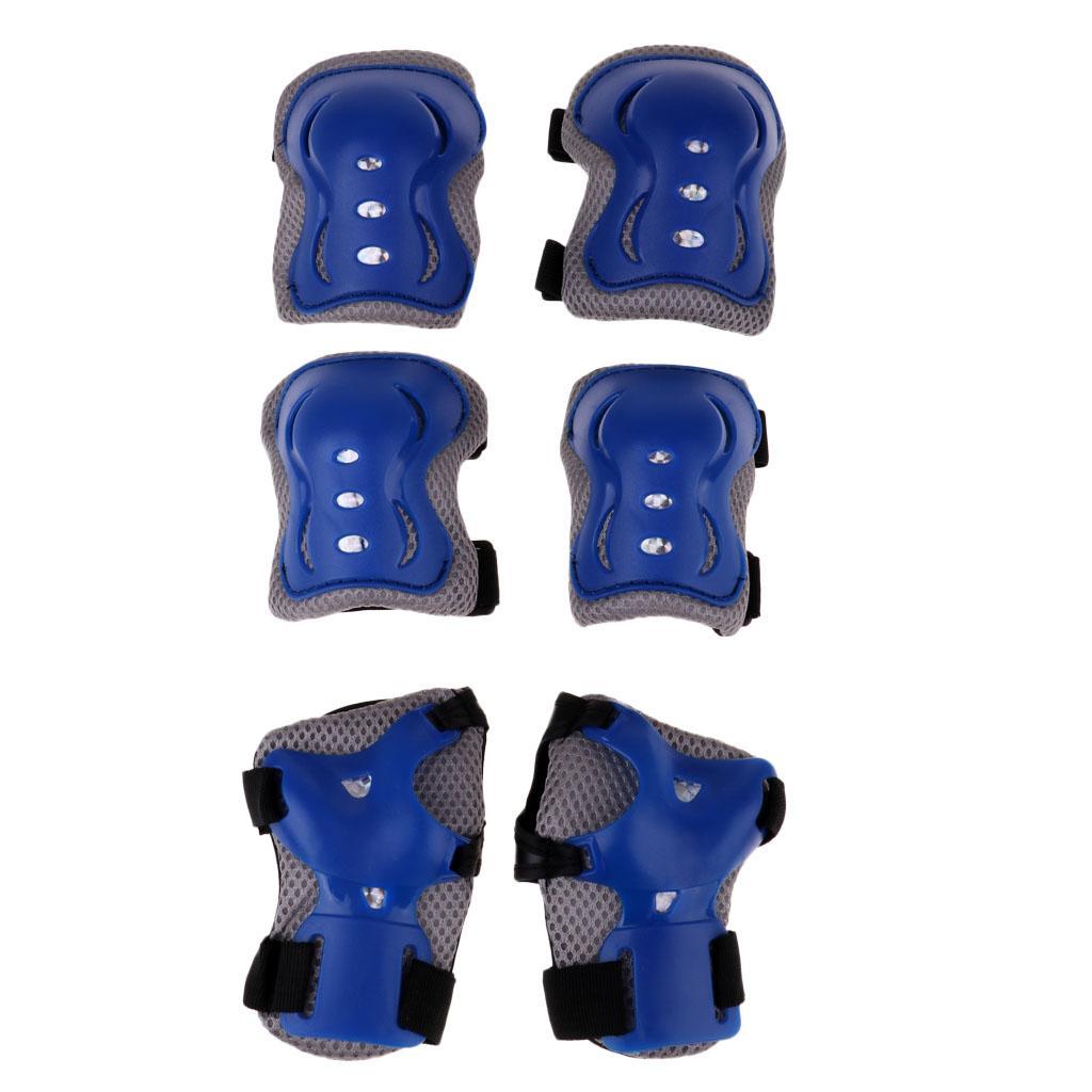 6PCS الاطفال سكيت دراجات التزلج الركبة الكوع المعصم واقية وسادات قابلة للتعديل
