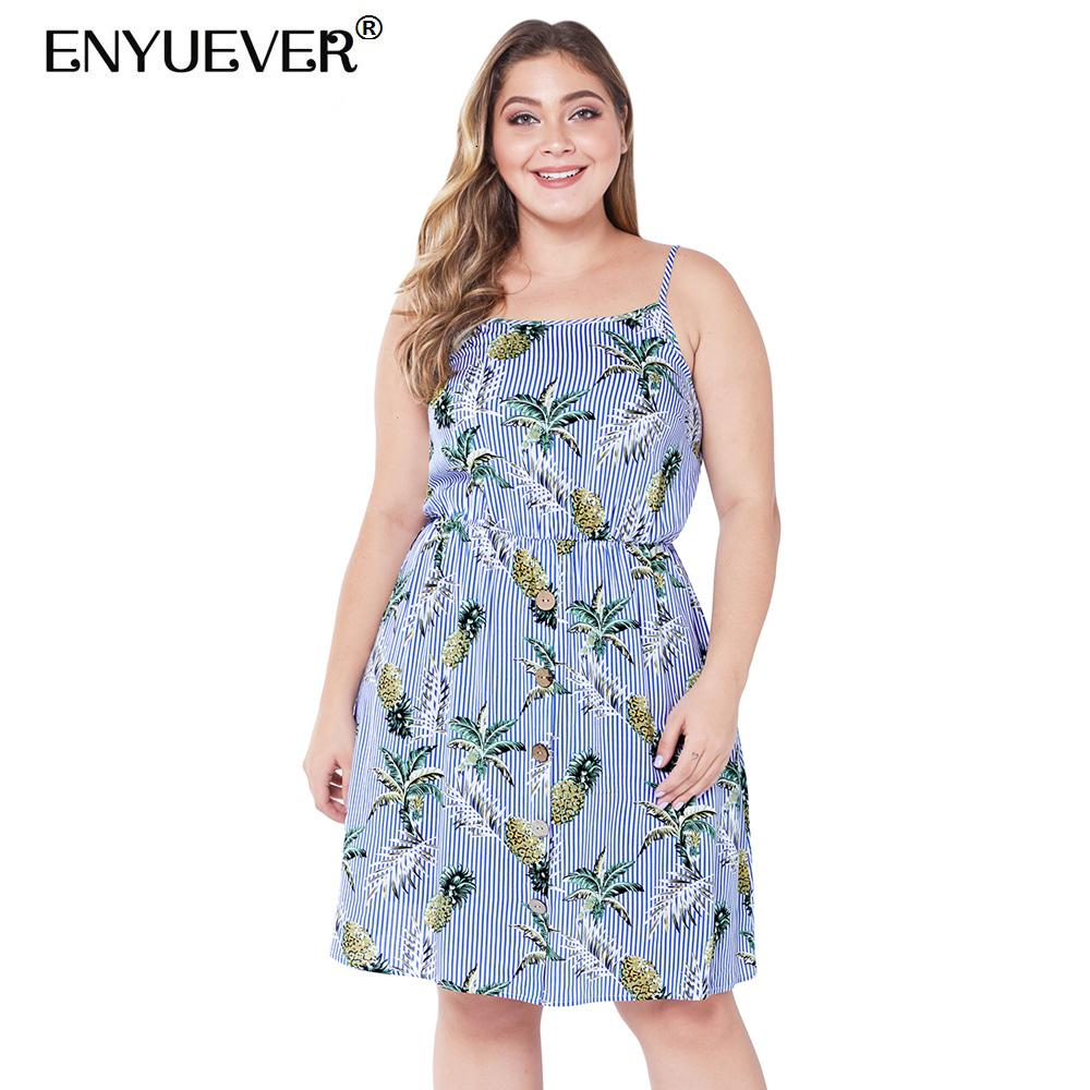 Enyuever plus size boho dress bohemian 2019 cinta de espaguete robe casual summer backless azul listrado botão de impressão dress vestidos
