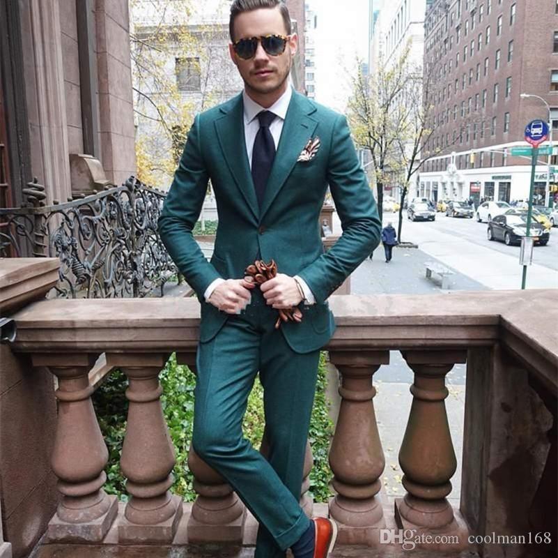 Темно-зеленые мужские свадебные смокинги Нотч лацкан жениха смокинги популярный мужчина пиджаки куртка отличный костюм 2 шт (куртка + брюки + галстук) 1300