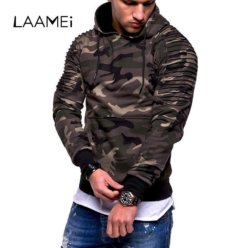 Laamei 3XL Plus La Taille Camouflage Hoodies Mode Homme Sweat À Capuche Avec Poche Pour Automne Hiver Pulls Chaud Hip Hop Streetwear 2019