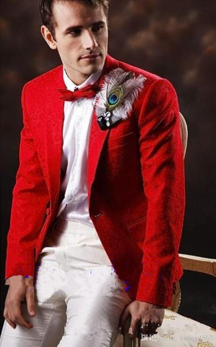 Nouveau design classique smokings marié garçons d'honneur un bouton rouge meilleur costume homme mariage blazer costumes (veste + pantalon + cravate) 1237