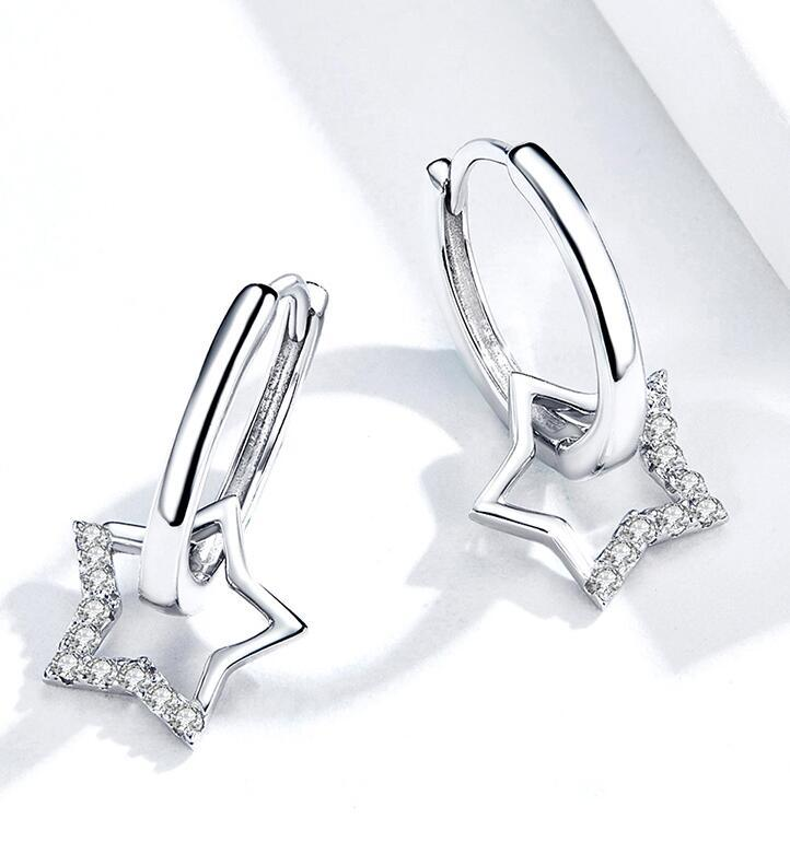 Statement Wedding Jewelry Clear CZ Earrings with Star Charm Women Genuine 925 Sterling Silver Fine Jewelry Designer Earring For Women