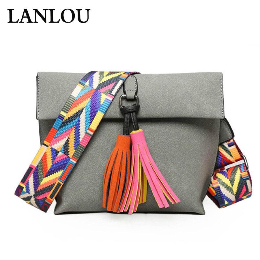 LANLOU novas mulheres sacos de ombro Tassel Crossbody Bag For Ladies Shoulder Bags Feminino Bolsas Bolsa Feminina Bolsos Muje