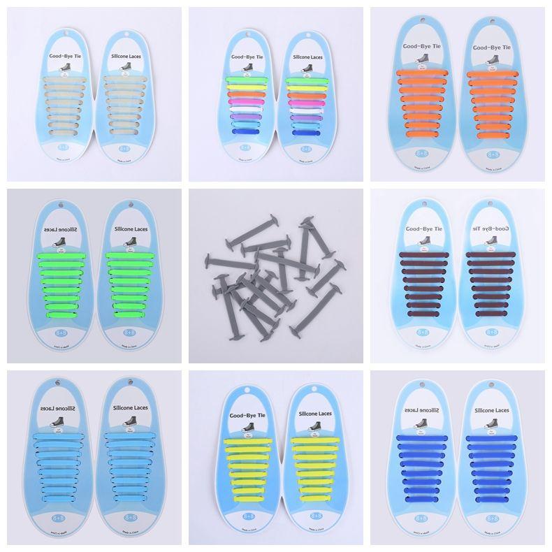 16Pcs Lazy Shoe Laces Unisex tie Shoelace Silicone Elastic Sneaker Lace Hot Sale