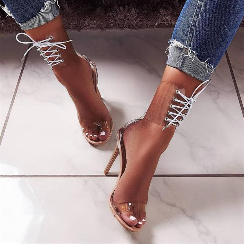 wholesale 2019 New Summer High Heel Sandals PVC Material High Help Gladiator Shoes Women Nightclub Banquet Fashion High Heels