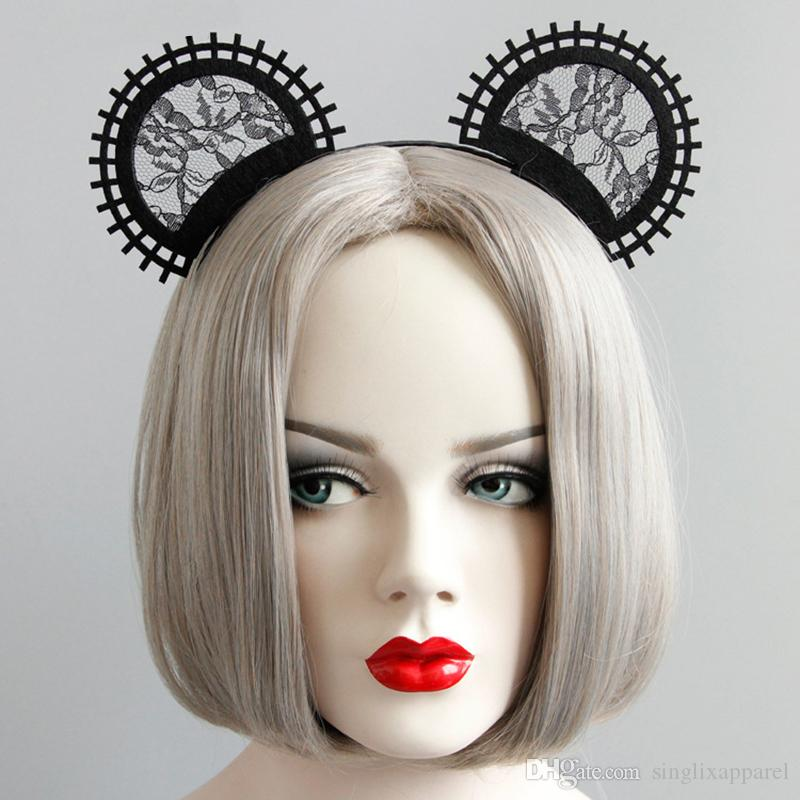 Black Lace Cat Ear Headband Catwalk Show Photography Cute Mesh Cat Ear Headbands Halloween Party Accessories