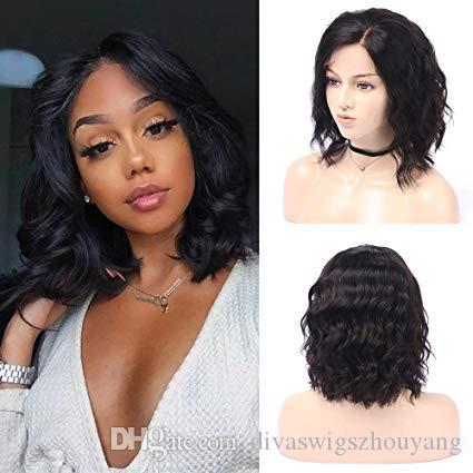 Cabello humano pelucas delanteras del cordón para las mujeres Negro, suelta la onda Bob Estilo, 150% Densidad, Natural Color Negro, de 8 pulgadas