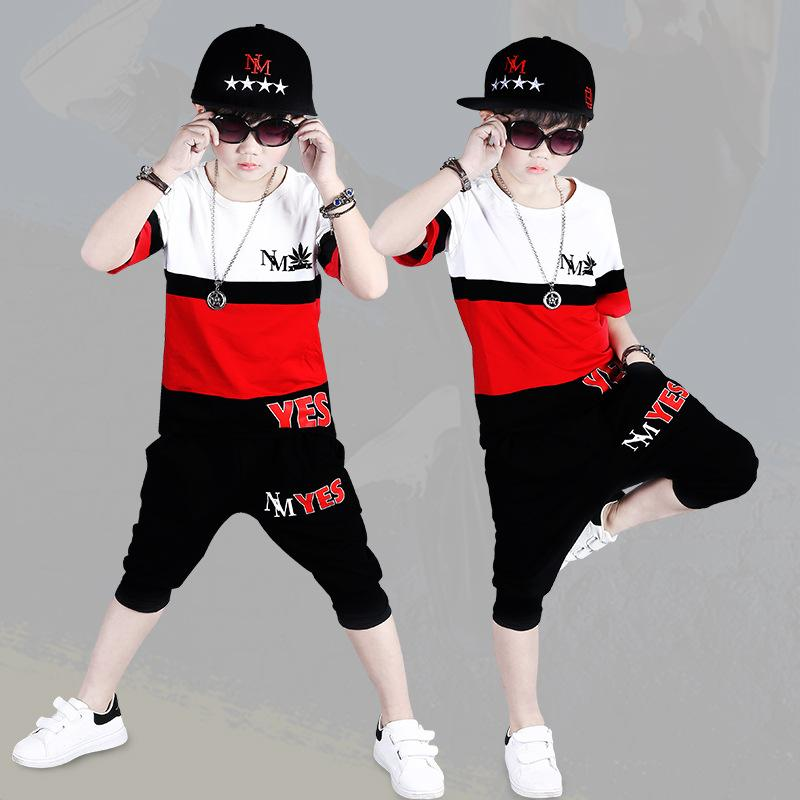 Boys Summer Short-sleeved Shirt New Suit Children's Round Neck T-shirt Shorts Baby Hip-hop Style Performance Clothing Leisure 2 Sets