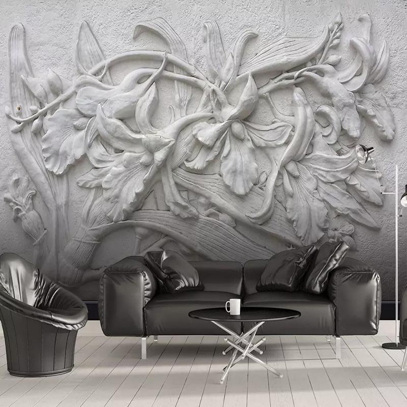 انخفاض الشحن مخصص 3D جدارية للجدران 3D ستيريو منقوش أسود أبيض زهرة زنبق الرئيسية الجدار الديكور جدار الطلاء الحديث