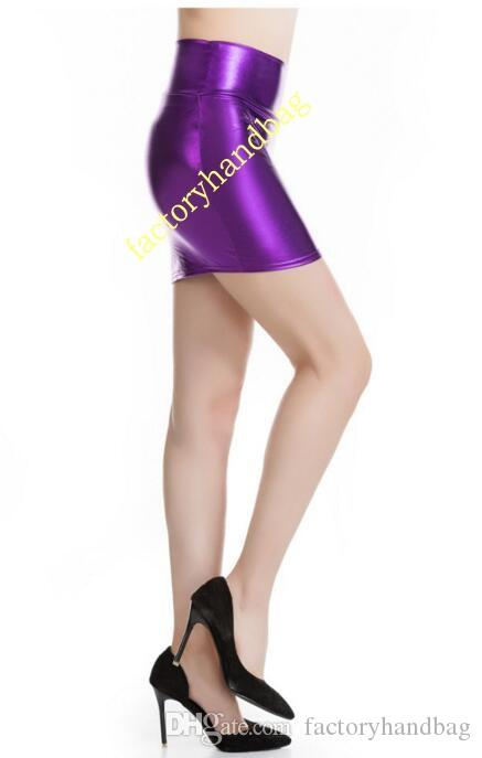 Metallic Lycra spandex gold silver black Color Faux leather Skirt New Women Bright Color Mini Short Skirts Female
