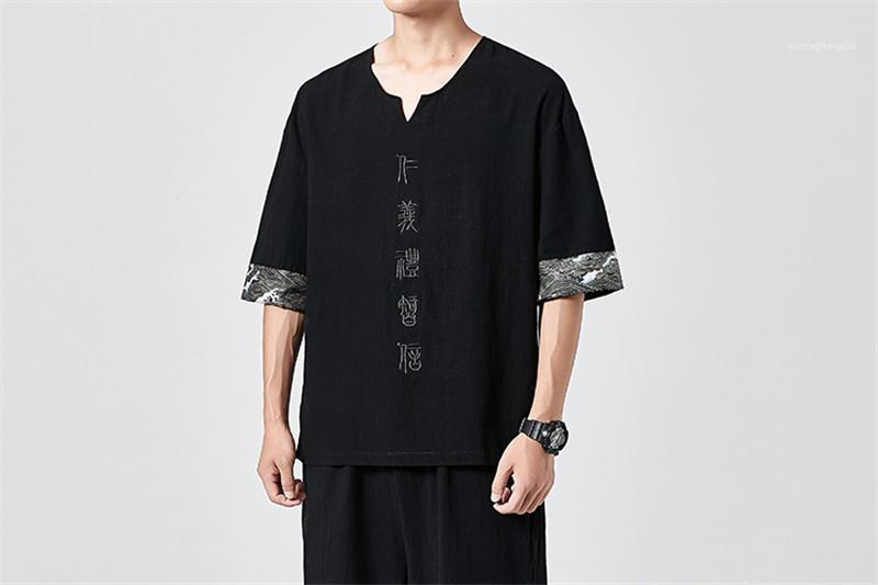 V образным вырезом с коротким рукавом тройники Мужские Щитовые Письмо вышивки Tshirts Mens Обычная длина Китайский стиль Tops Homme