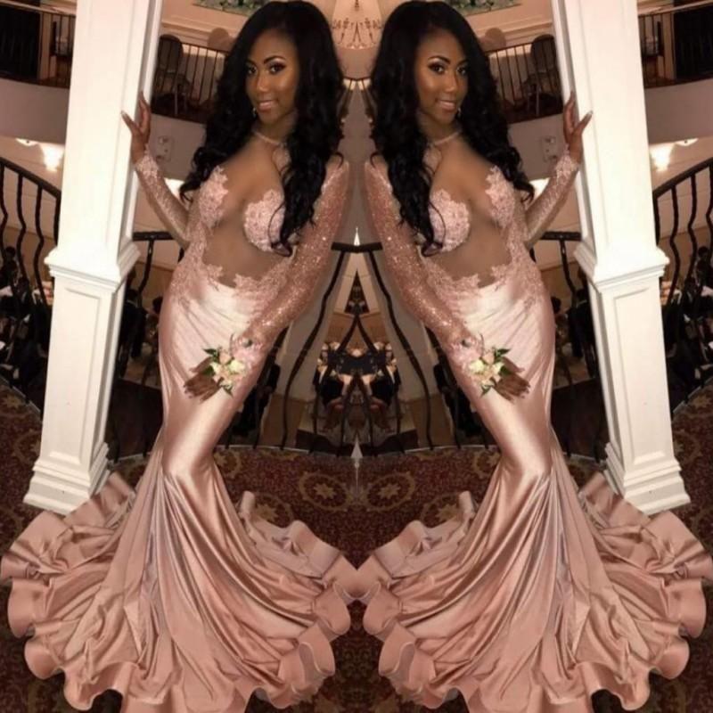 2018 Pink Pearl Black Girl Filles à manches longues robes de bal Illusion look sexy sirène Robes de soirée longue Appliques Custom Made Vestidos