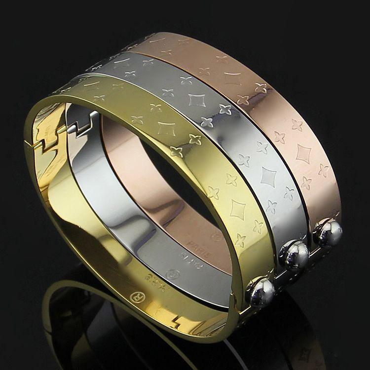 Marca de aço de titânio 316L Flower V Bangle pulseira com 18k cor de ouro rosa para pulseira de homem para presente de jóias de casamento