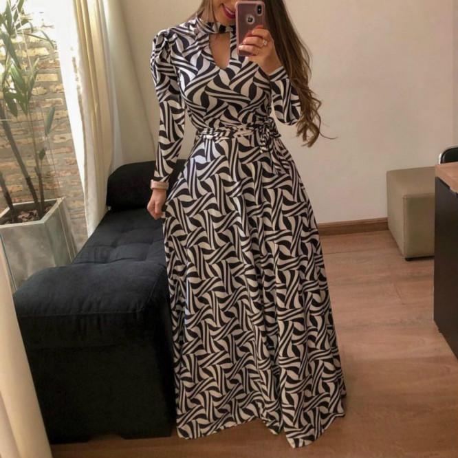 Mulheres manga comprida vestidos de moda Outono-Inverno das mulheres vestidos estampados Casual Streetwear Roupas Tamanho S-5XL 2020 Chegada Nova